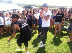A.J. McLeam And Nick Carter Playing Games With The Fans