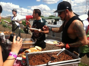 Nick Carter Howie Dorough And A.J. McLean Grabbing Food