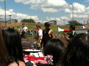 The Backstreet Boys serve their fans some food at the BSBBQ