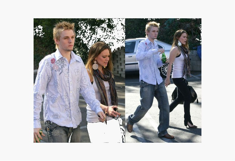 Image of Hilary Duff and Aaron Carter together.