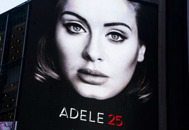 "Adele's ""25"" Billboard in Time Square New York City"