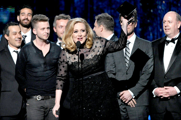 """Adele and Her Team Winning Grammy For """"Album Of The Year""""  On The 2012 Grammy Awards"""