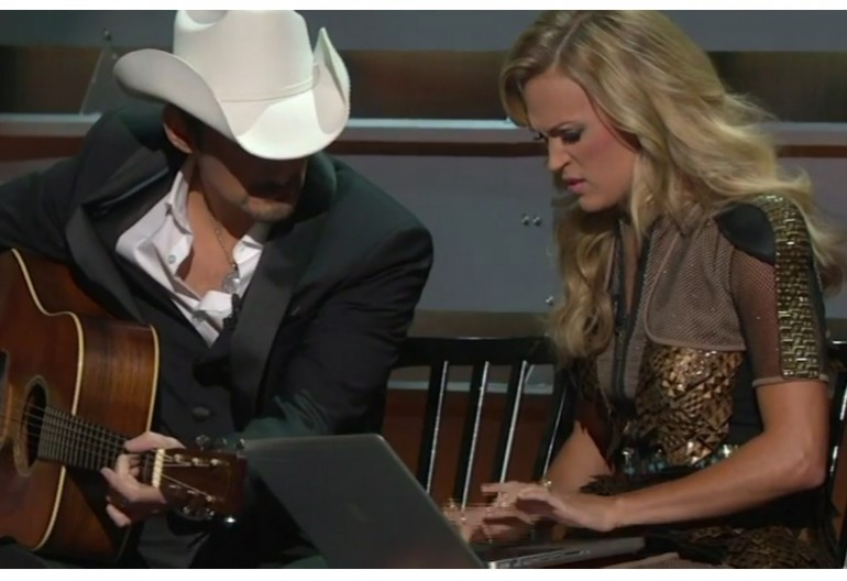 """Brad Paisley & Carrie Underwood  Mockingly sign Up For """"Obamacare"""" While Hosting the 2013 CMAs On ABC"""