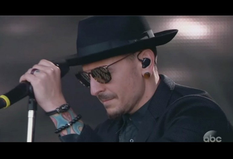 "Chester Bennington Performing ""One More Light"" For Chris Cornell On Jimmy Kimmel Live On ABC"