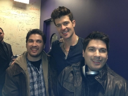Matt Clizbe, Robin Thicke, Craig Clizbe At World Cafe Live In Philadelphia December, 2011