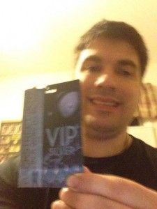"Craig Clizbe of Clizbeats.com Holding up His Backstreet Boys VIP Pass From Backstreet Boys' ""In A World Like This"" Tour (June 21, 2014)"