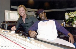 English singer David Bowie with American rapper Diddy (Sean Combs) in a recording studio, circa 2001. (Photo by Dave Hogan/Getty Images)