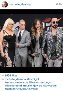 Brian Littrell and wife Leighanne, along with AJ McLean and his wife Rochelle at the MTV Movie Awards.
