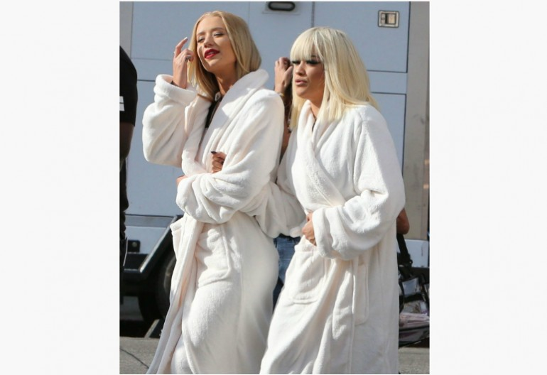 IGGY AZALEA and RITA ORA on Set of Black Widow Music Video