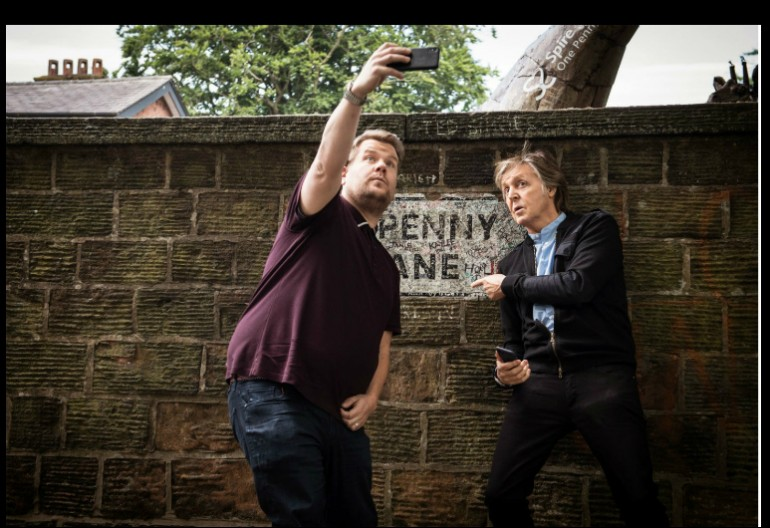 James Corden And Paul McCartney Taking A Selfie On Penny Lane-CBS