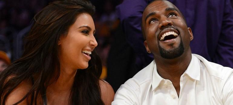 Kim and Kanye courtside. Photo credit: PopSugar
