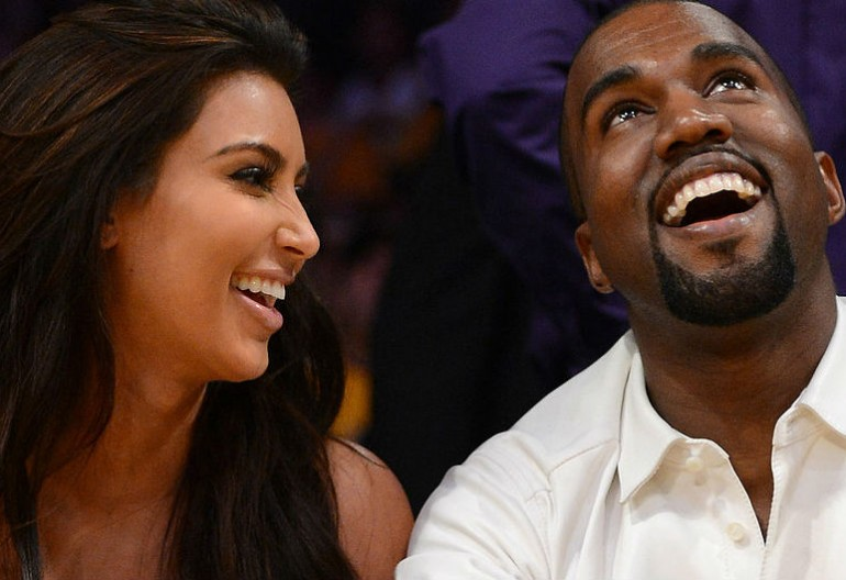 Kim and Kanye courtside. Photo credit: PopSugar