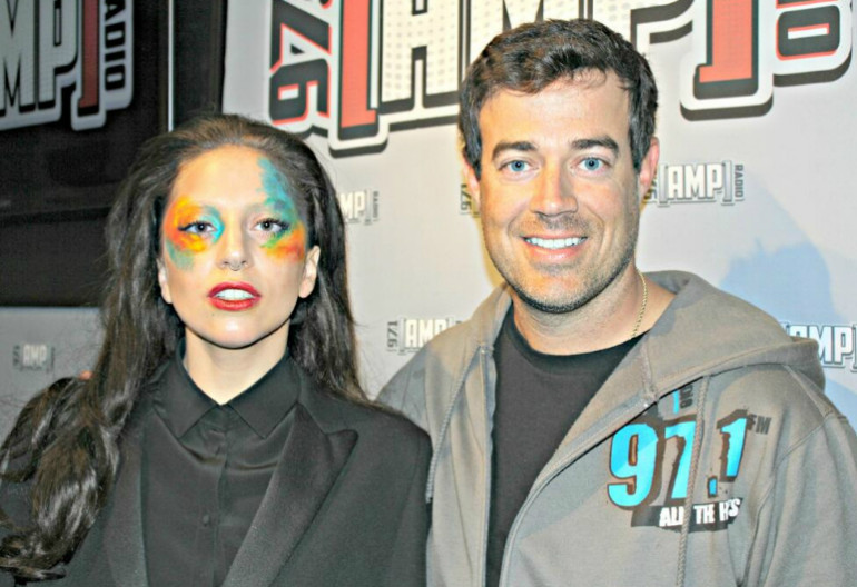 Carson Daly With Lady Gaga At Amp Radio