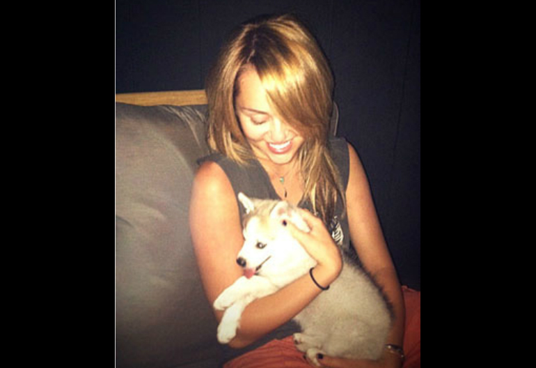 Miley Cyrus And Her Dog Floyd