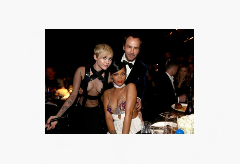 Rihanna and Miley Cyrus at the 2014  amfAR Inspiration Gala