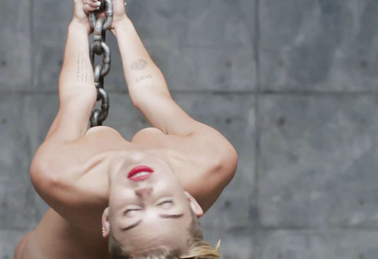 "Video Still from Miley Cyrus's ""Wrecking Ball"" Music Video"