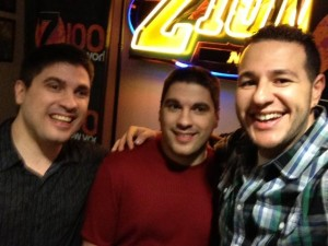 Matt Clizbe And Craig Clizbe With Mo Bounce at New York's Z100