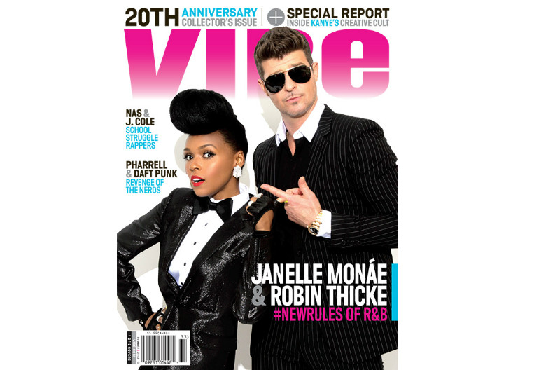 Janelle Monae and Robin Thicke On Vibe Magazine