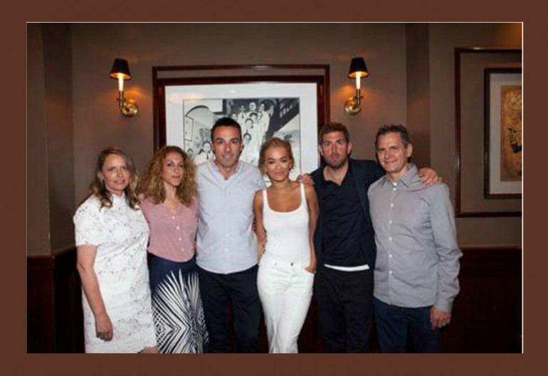 FROM LEFT: Sarah Stennett (CEO, First Access Entertainment), Julie Greenwald (Chairman & COO, Atlantic Records US), Ben Cook (President, Atlantic Records UK), Rita Ora, Max Lousada (Chairman & CEO, Warner Music UK), Craig Kallman (Chairman & CEO, Atlantic Records US)