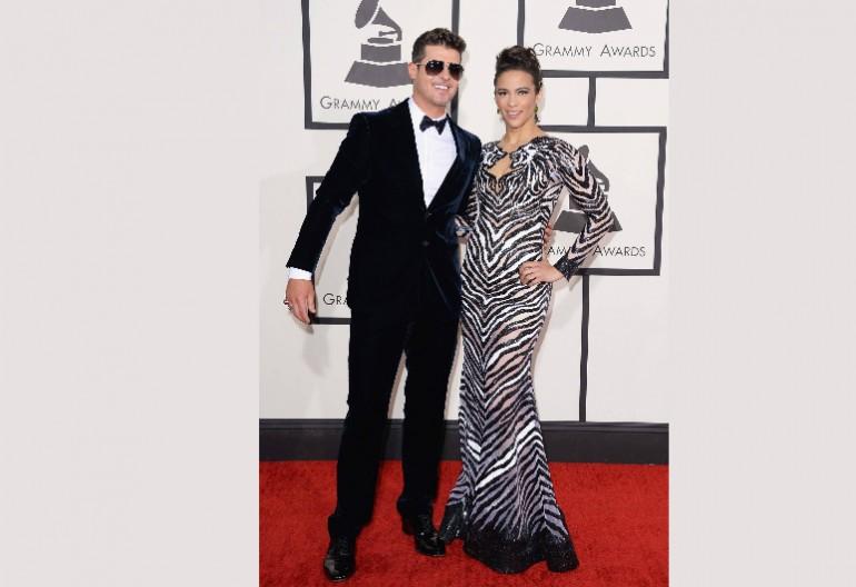 Robin Thicke & Paula Patton At The 56th Annual Grammy Awards