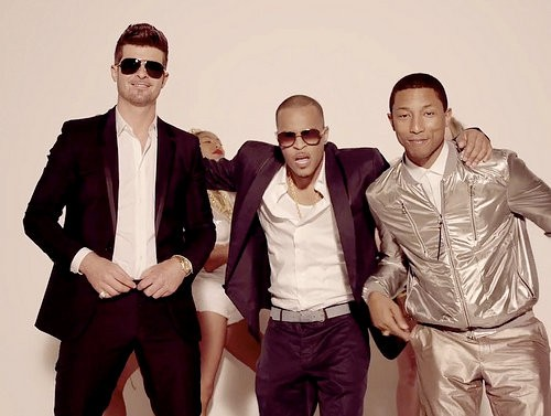 "Robin Thcke, T.I. And Pharrell Williams In ""Blurred Lines"" Music Video"