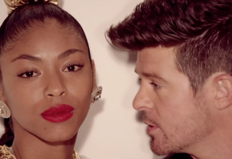 "Robin Thicke in ""Blurred Lines"" Music Video"