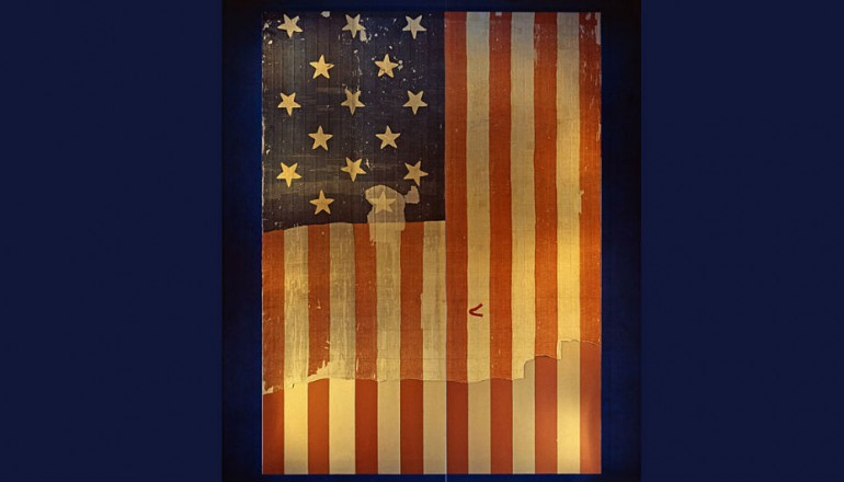 The Star Spangled Banner, which is the very flag which inspired Francis Scott Key to write the national anthem, on display at the  Smithsonian in Washington D.C..