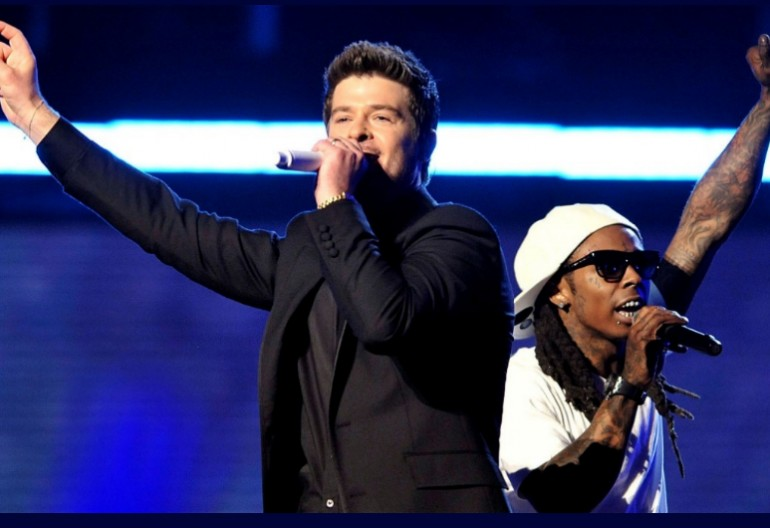 "Robin Thicke & Lil Wayne at the 51st Annual Grammy Awards Performing ""Tie My Hands"" in 2009"