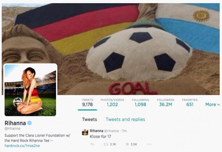 Screenshot Of Rihanna's Twitter