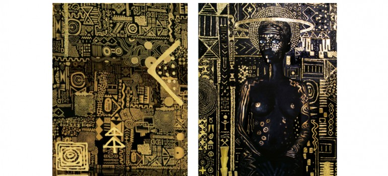 """Left, an image from the video for """"All the Stars"""" by Kendrick Lamar and SZA; right, the painting """"Constellation I"""" by Lina Iris Viktor.CreditLeft, Universal Music Group; right, Lina Iris Viktor, via Mariane Ibrahim Gallery"""