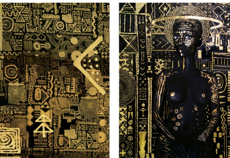 "Left, an image from the video for ""All the Stars"" by Kendrick Lamar and SZA; right, the painting ""Constellation I"" by Lina Iris Viktor.CreditLeft, Universal Music Group; right, Lina Iris Viktor, via Mariane Ibrahim Gallery"