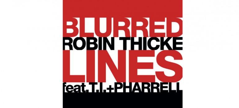 """Robin Thicke F/T.I, & Pharrell Williams """"Blurred Lines"""" Single art Star Trak/Interscope Records"""