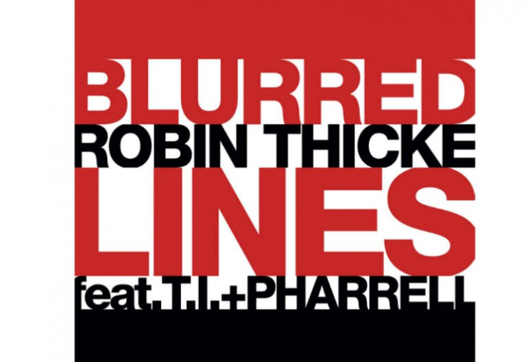 "Robin Thicke F/T.I, & Pharrell Williams ""Blurred Lines"" Single art Star Trak/Interscope Records"