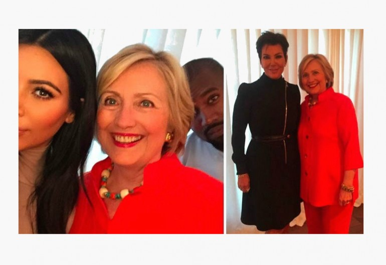 Kim Kardashian Hillary Clinton and Kanye West/Kris Jenner/Hillary Clinton Images Via Instagram