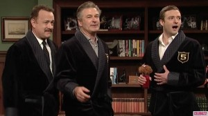"Justin Timberlake At The ""5 Timers Club"" With Tom Hanks And Alec Baldwin"
