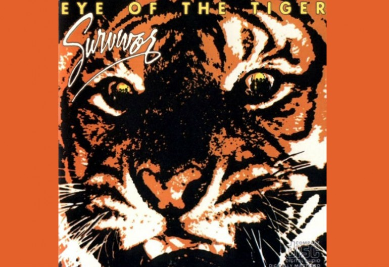"The cover art for Survivor's song ""Eye of the Tiger"" which was featured on the Rocky III soundtrack."