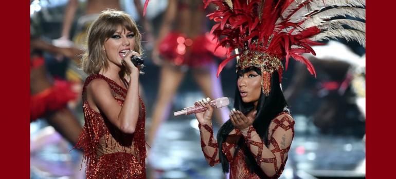 Taylor Swift And Nicki Minaj performing at the 2015 MTV Video Music Awards